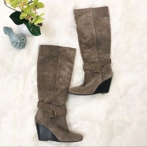 BCBGeneration | Wallis Taupe Suede Wedge Boots